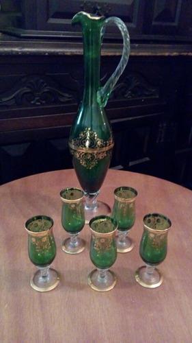 Juego De Jarra Y 5 Copas De Cristal Murano Verde