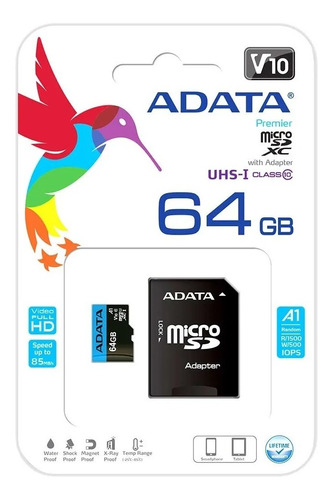 Memoria Micro Sd Adata 64 Gb 100 Mb/s Full Hd Original