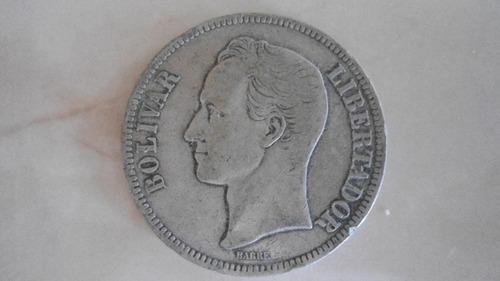Moneda De 5 Bolivares De Plata De  Lei 900 Gram 25