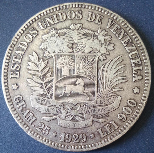 Moneda De 5 Bolívares De  Fuerte De Plata