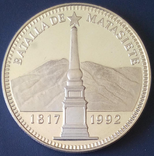 Moneda De Plata 175 Aniversario De La Batalla De Matasiete