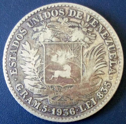Moneda De Plata De 1 Bolívar Del Año