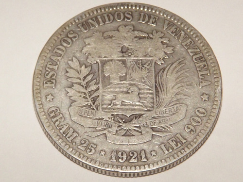 Moneda De Plata. Fuerte 5 Bolívares. Año