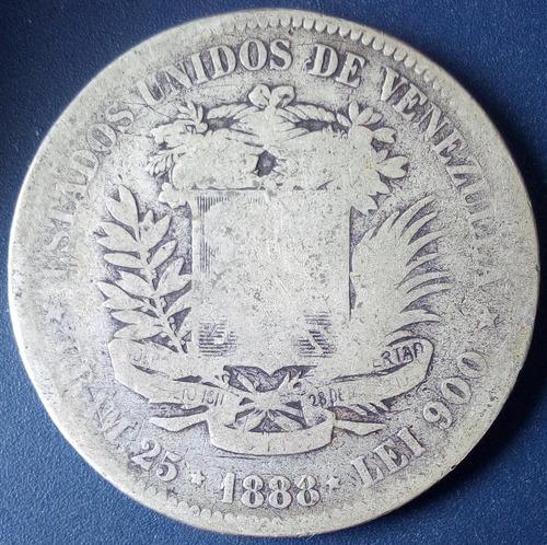Moneda Fuerte De Plata De 5 Bolívares Del Año