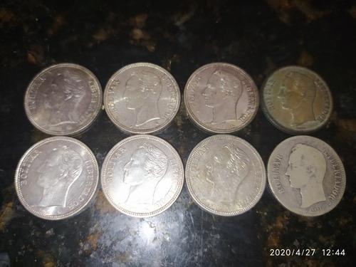 Monedas De Dos Bolívares De Plata, 8 Pz