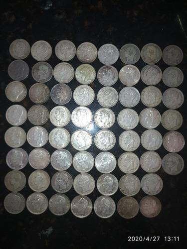Monedas De Un Bolívar De Plata. 62 Pzs
