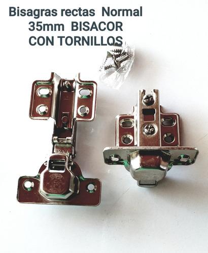 Bisagras Rectas 35mm Bisacor 4 Pares/ctornillos 1,2v