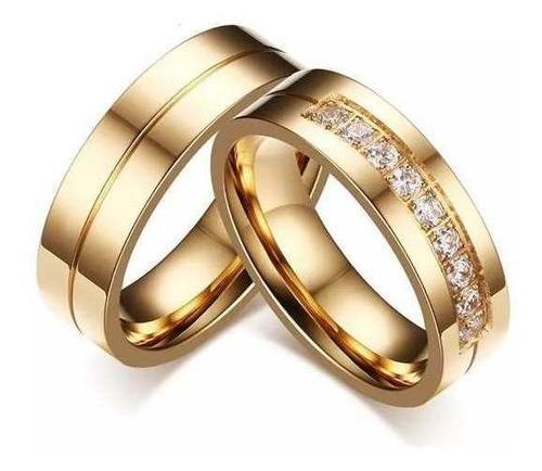 Anillos De Matrimonio En Plata 950 Con Baño De Oro 18k