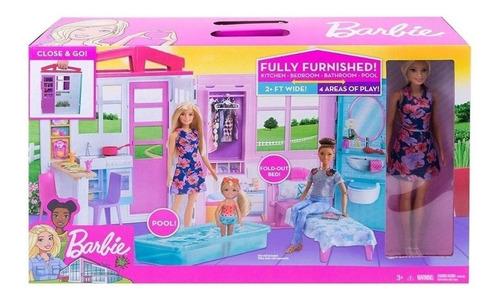 Barbie Casa Portátil Piscina Casa De Muñecas Fxg55 Oferta