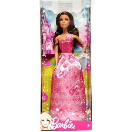 Muñeca Barbie Princesa Rosa Brillante Hermosa