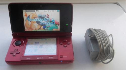 Nintendo 3ds Rojo Chip Con Memoria De 16gb Cargador