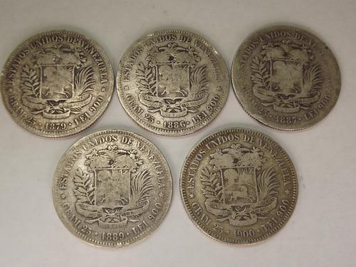 19 Monedas De Colección. Fuerte. 5 Bs Bolívares. Plata 900