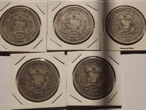 Colección De 22 Monedas De Plata. Fuerte. 5 Bolívares.