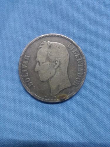 Moneda Antigua De  De 5 Bolívares En Plata Ley 900
