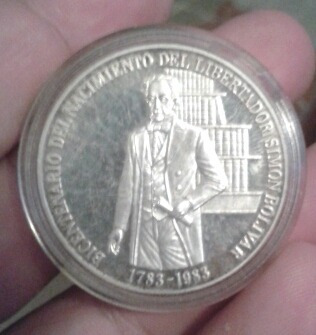 Moneda De Plata Bicentenario Del Nacimiento Simon Bolivar