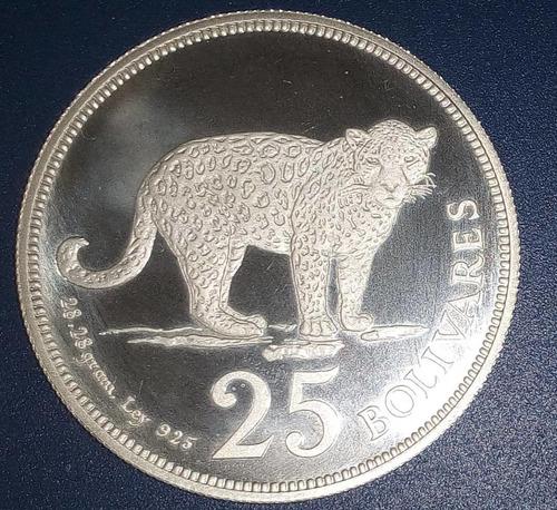 Moneda De Plata De 25 Bolívares De  Fauna Jaguar Proof