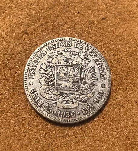 Moneda De Plata De 5 Cinco Vf Año  Fuertes De Plata