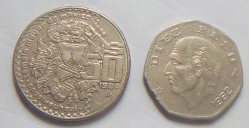 Monedas Antiguas Mexicanas De 10 Y 50 Pesos