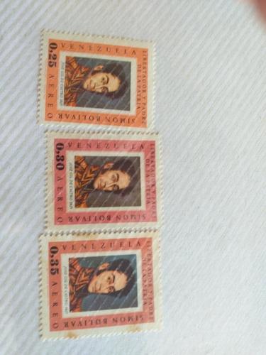 3 Estampillas Libertador Y Padre De La Patria Simón Bolivar