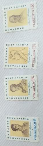 4 Estampillas Libertador Y Padre De La Patria Simón Bolivar