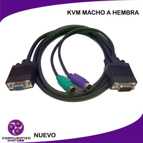 Cable Kvm Vga Db15 Macho A Vga Db15 Hembra 1.5mts 2ps2 New!!