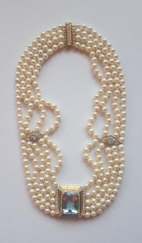 Collar De Perlas, Brillantes Y Aguamarina