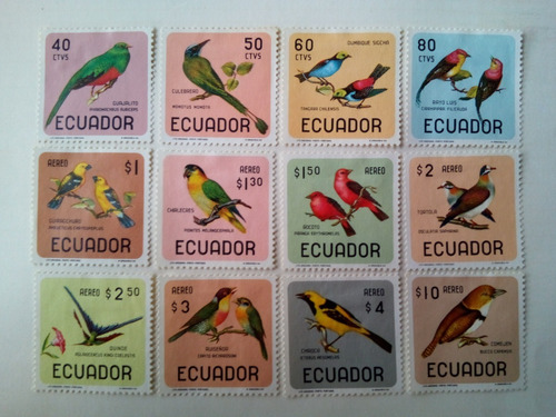 Estampillas De Ecuador. Serie: Pájaros. .