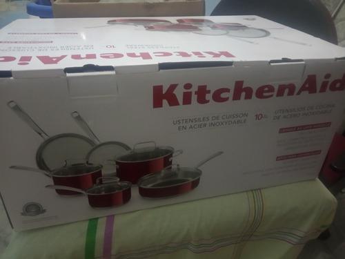 Juego De Ollas Y Sartenes Kitchen Aid De Acero Inox Poco Uso