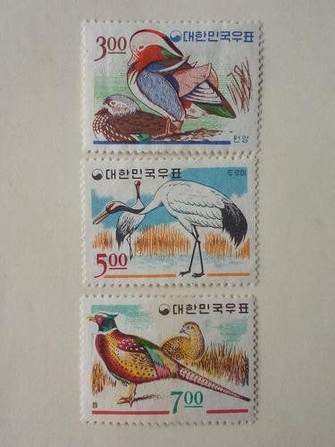 Estampillas Corea Del Sur. Serie: Aves, 1966.