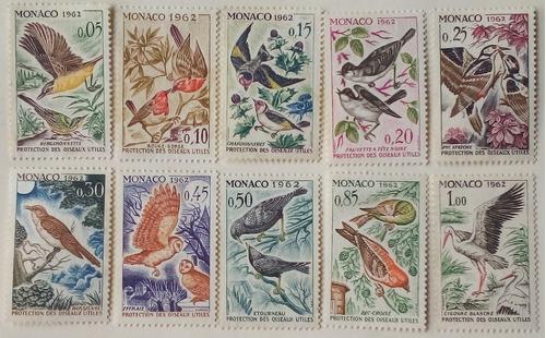 Estampillas De Monaco. S/ Uso De Aves En La Agricultura,1962