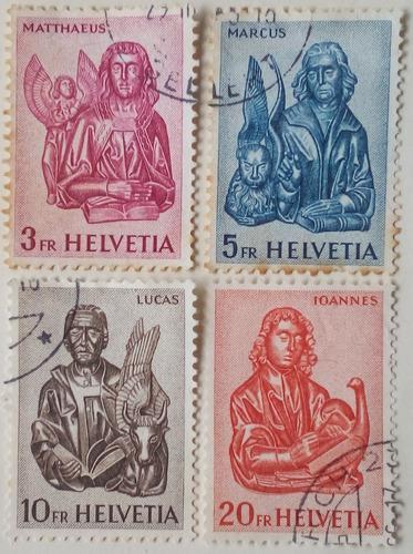 Estampillas De Suiza. Serie: Los Cuatro Evangelistas. 1961.