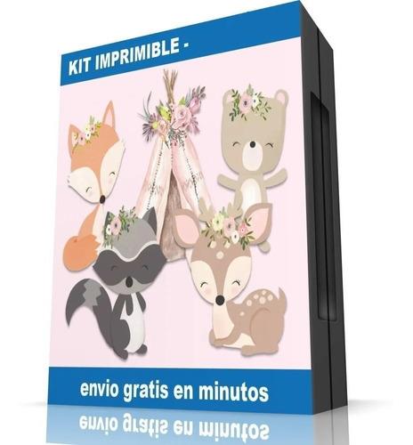 Kit Imprimible Animales Del Bosque Encantado Rosa Promo