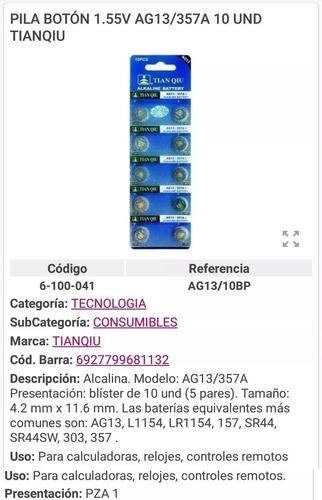 Pila Bateria Aga Blister De 10 Unidades 1.55v