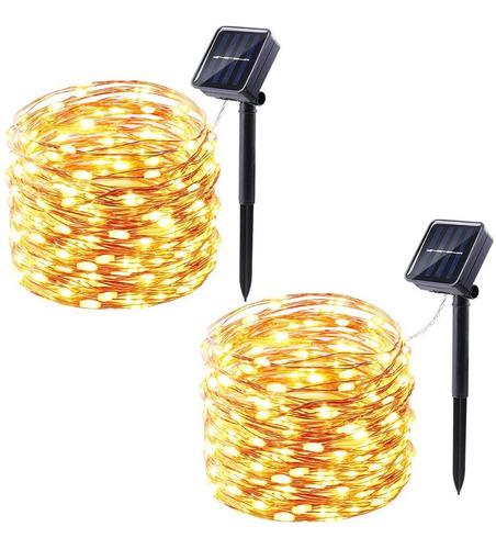 Luces De Hadas 2 Pack Luz Calida 10 Metros Con Panel Solar