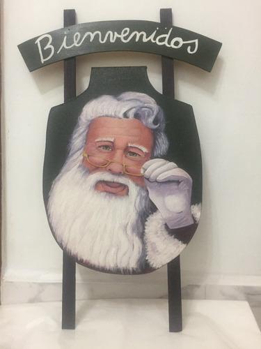 Santa Claus Pendon Navidad Madera Pintado A Mano Oleo