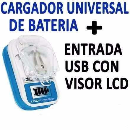 2 Cargador Universal De Baterias Indicador Led Y Entrada Usb