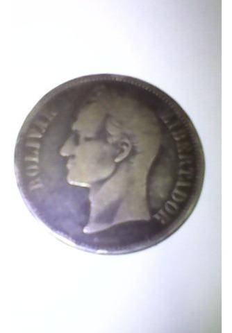 Moneda 5 Bolivares Plata De Ley Antiguo Del Año