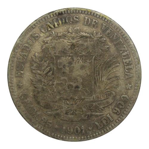 Moneda 5 Bolívares Fuerte De Plata