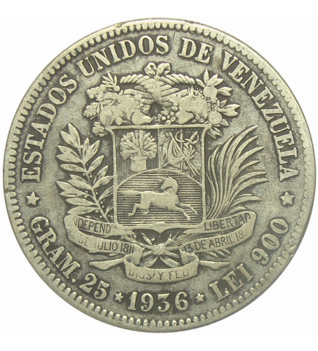 Moneda 5 Bolívares Fuerte Plata  Fecha Ancha