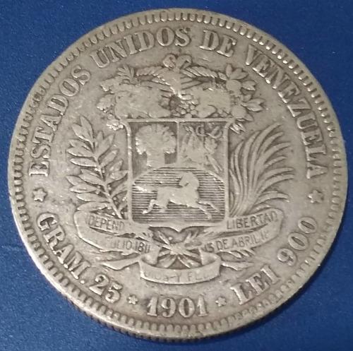 Moneda De 5 Bolívares Fuerte De Plata De