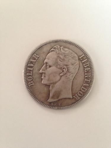 Moneda De Plata 5 Bs.  Lei 900