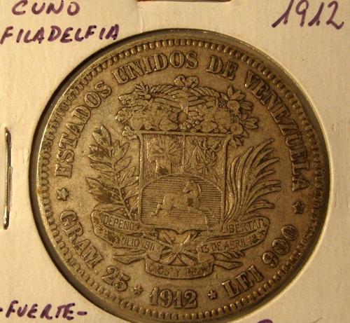 Moneda De Un Fuerte De Plata 5 Bolívares Año