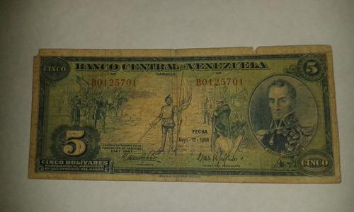 Billete De 5 Bolivares 10 De Mayo De 1966 (dieguito)