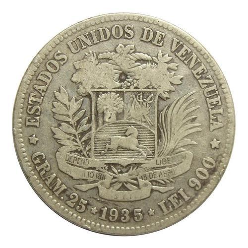 Moneda 5 Bolívares Fuerte De Plata 1935