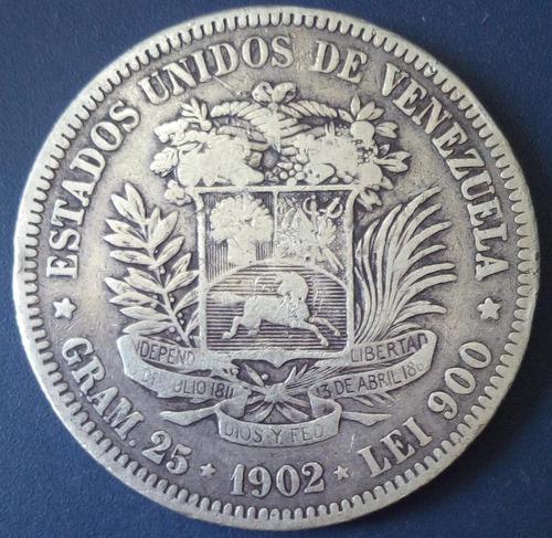 Moneda De 5 Bolívares De 1902 Fuerte De Plata