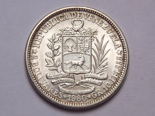 Moneda De Plata 10 Gramos. (2 Bs) Dos Bolívares. Venezuela.