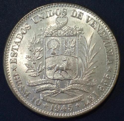 Moneda De Plata De 2 Bolívares Del Año 1945