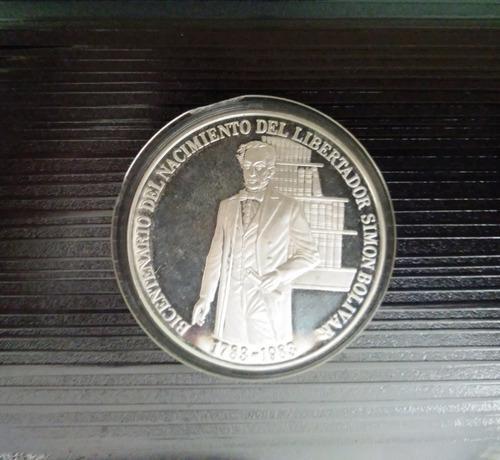 Moneda Plata Bicentenario Del Nacimiento Del Libertador 1783