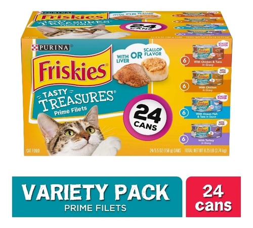 Alimento Húmedo Para Gatos Purina Friskies 24 Latas 5.5 Oz