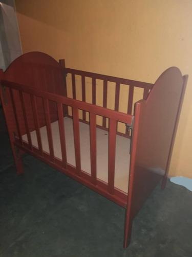 Cuna De Madera Oscura Para Bebe